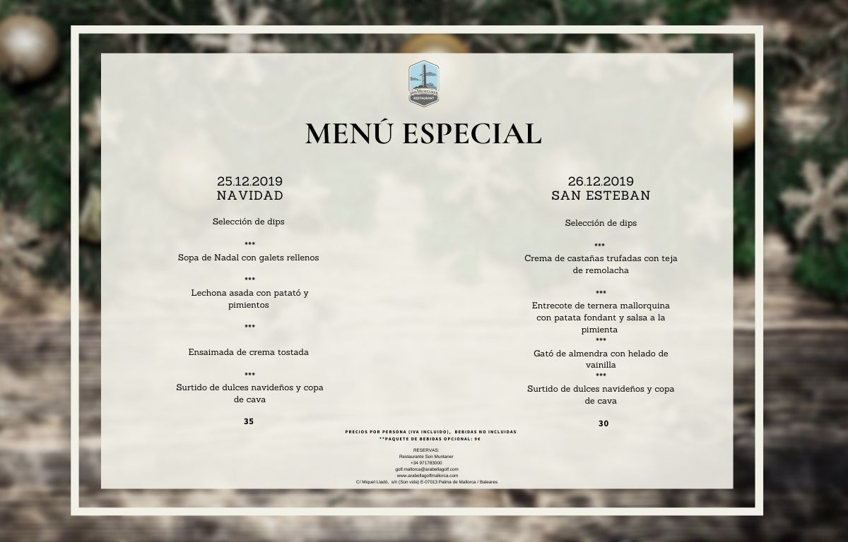 Christmas Day special menu